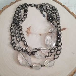 Cookie Lee Clear Bead Silver Statement Necklace